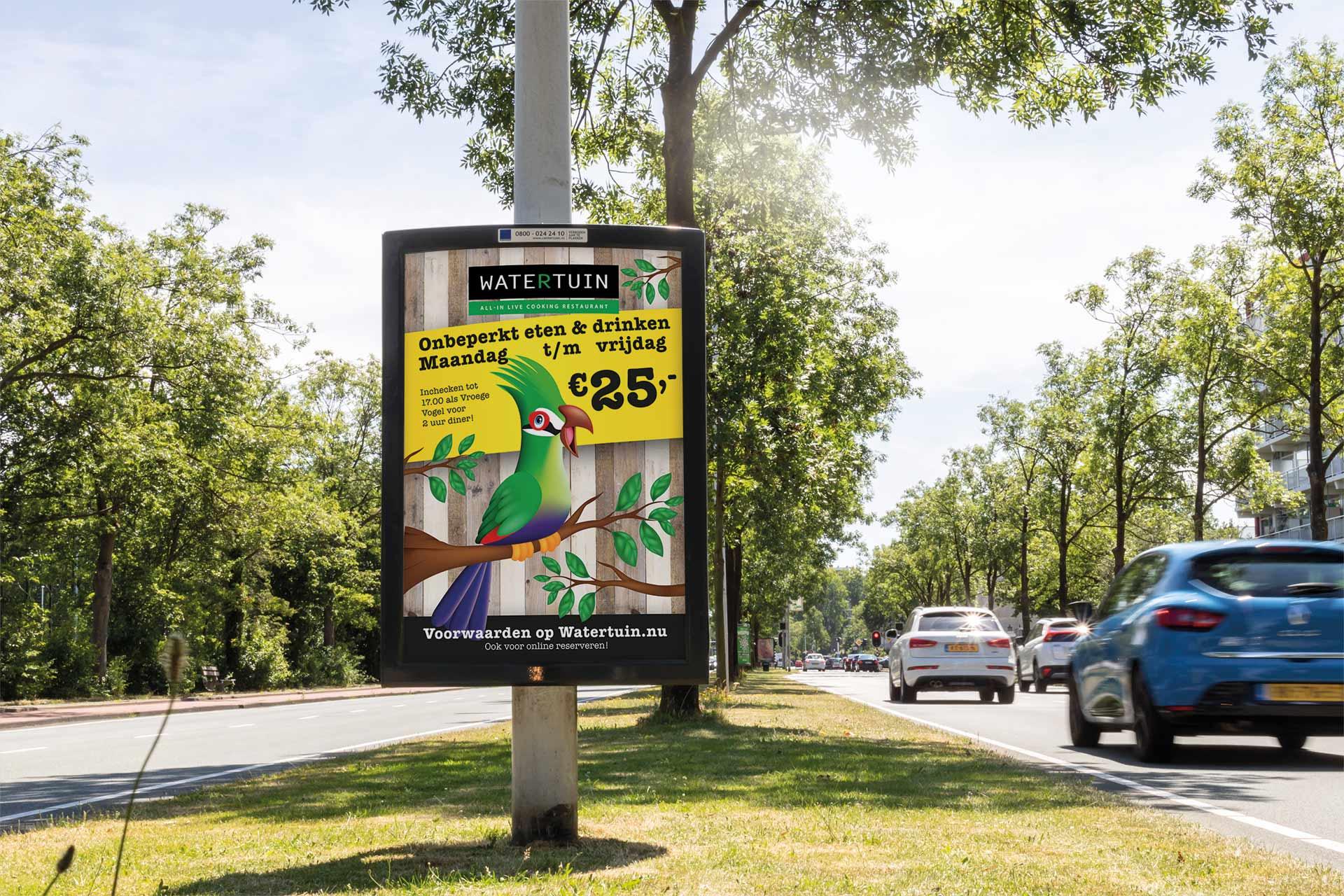 reclamebord om lantaarnpaal reclame op straat
